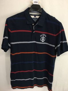 MENS XL SLIM TOMMY HILFIGER CUSTOM FIT POLO SHIRT BLUE SHORT-SLEEVE CASUAL #TommyHilfiger #PoloRugby