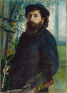Claude Monet painted by Pierre Auguste Renoir. An impressionist painter by another impressionist painter.