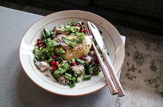Roasted celeriac with mushrooms, kale and lingon berries.