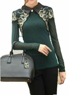 Beautiful Women Lapel Long Sleeve Embroidered Lace Gauze Slim Tops T-Shirt 3424