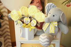 Chá de bebê do Davi – Tema Elefantinho Cinza e Amarelo – Inspire sua Festa ®