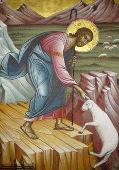 Icon of Christ and the Lost Sheep- notice Jesus is pulling the lost lamb by its EAR. Religious Images, Religious Icons, Religious Art, Christ The Good Shepherd, The Lost Sheep, Byzantine Icons, Orthodox Christianity, Catholic Art, Art Icon