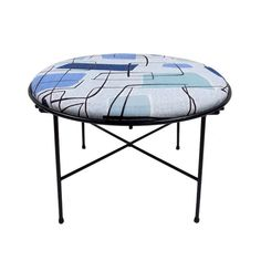 Summer sale! Use the coupon code SUMMER at checkout to recieve 20% off your purchase.  1950s black iron X base round stool/ottoman with