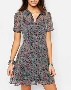 New Look | New Look Ditsy Print Button Through Tea Dress at ASOS