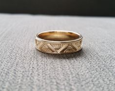 Art Deco Mens Wedding Band Ring Pattern Antique by PenelliBelle