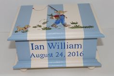 Baby keepsake box chest memory box personalized sports theme baby keepsake box for boy baby memory box gone fishing personalized baby gift hand painted negle Image collections