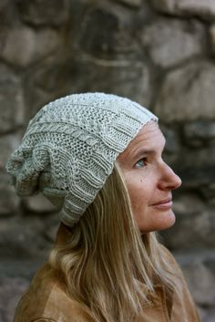 Knitting Pattern PDF - Adult's Cable & Lace Adiri Slouchy Hat