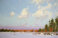 """Daily Paintworks - """"Winter in New Hampshire, landscape oil painting, Handmade artwork"""" - Original Fine Art for Sale - © V Y"""
