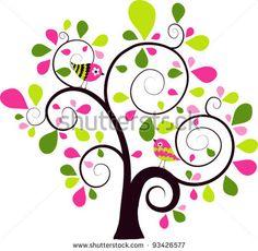 stock vector : Valentines tree background, vector illustration