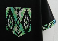 Men's Black and Green Tribal Pattern with by HeartLabelTees