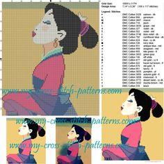 Mulan cross stitch pattern Cross Stitch Boards, Simple Cross Stitch, Disney Cross Stitch Patterns, Cross Stitch Designs, Cross Stitching, Cross Stitch Embroidery, Stitching Patterns, C2c Crochet Blanket, Disney Canvas