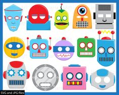Prop Robots - Cutting Files SVG JPG Digital Graphic Design Instant Download Commercial Use Photo Booth Party Funny Fun Robot Mask (00386c) by HaHaHaArt on Etsy https://www.etsy.com/listing/269196695/prop-robots-cutting-files-svg-jpg