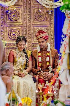 Reception Tamil Wedding Dress For Man Indian Wedding Ceremony, Tamil Wedding, Wedding Bride, Wedding Stage, Wedding Ideas, South Indian Weddings, South Indian Bride, Om Namah Shivaya, Indian Matrimony