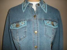 Very Vera Womens Blue Jean Jacket Beaded Collar & Front Pockets Sz M #VeryVera #JeanJacket http://stores.ebay.com/Castys-Collectibles?_dmd=2&_nkw=womens+jacket