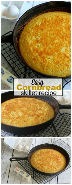 If you have ever wanted an easy cornbread recipe, this easy skillet cornbread recipe is IT! Super easy and crazy delicious. Easy Skillet Cornbread - A simple recipe for amazing cornbread! Iron Skillet Recipes, Cast Iron Recipes, Skillet Meals, Skillet Cooking, Cooking Risotto, Easy Cornbread Recipe, Homemade Cornbread, Buttermilk Cornbread, Homemade Breads