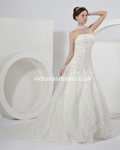 A-line Strapless Sleeveless Organza Ivory Cheap Wedding Dresses With Beading