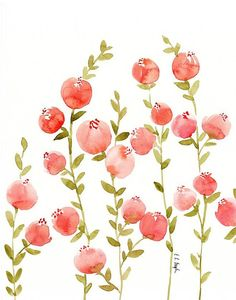 PEACH FLOWERS WITH OLIVE GREEN STEMS- ORIGINAL WATERCOLOR PAINTING  Decorate your home with this original piece of floral watercolor art! These delicate peach colored flowers are combined with olive green leaves and stems.   THIS LISTING INCLUDES: (1) original watercolor painting of