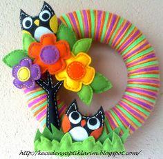 FELT IN LOVE: Keçe Baykus, Çiçek ve Agaç Figürlü Kapı Süsü
