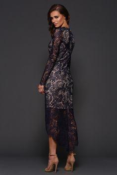 long sleeve lace dress<br />navy lace with nude underlay.