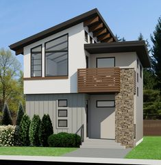 The Contemporary small home plan takes compact to a new level…the u… Contemporary House Plans, Modern House Plans, Small House Design, Modern House Design, Small House Plans, House Floor Plans, Style At Home, Garage Apartment Floor Plans, Double Sliding Barn Doors