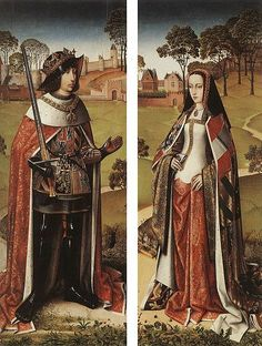 Philip the Fair and Joan the Mad of Castile in the gardens of the castle of Brussels (Wings of the triptych known as of the town hall of Zierikzee) Master of the Joseph Sequence