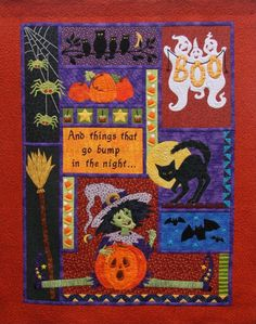 "Pumpkin Patch quilt pattern,  66 x 86"",  in the Halloween collection by Laurie Tigner.  Witch, cat, broomstick, jack-o-lanterns, spiders, ghosts and bats."