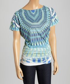 This Blue & Green Geometric Ruched Boatneck Top is perfect! #zulilyfinds