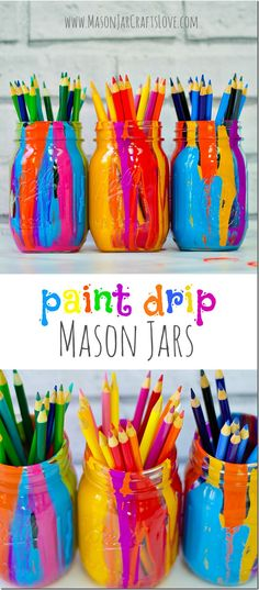 Paint drip mason jars are a cute craft as a gift or to organize school supplies that 9 year olds can easily make (desk organization diy mason jars) Cute Crafts, Crafts To Do, Crafts For Kids, Diy Crafts, Food Crafts, Resin Crafts, Crochet Crafts, Yarn Crafts, Easter Crafts