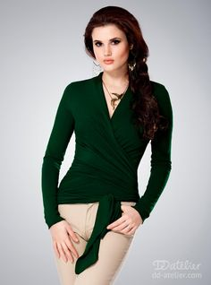 Our Multiway top in dark green is the perfect wardrobe staple. Wear it tied at the side, the back or the front for a style that changes as much as you do. Available here: http://dd-atelier.com/Blouse-scarf-multiway-Wrap-me-2-052-dark-green.html