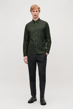 This shirt is made from a wool blend with a softly brushed felt quality. Back length of size M is / Model is tall and wearing a size M Wardrobe Sale, Small Wardrobe, Color Khaki, Khaki Green, Cos Man, Tailored Trousers, White Shirts, Wool Felt, Wool Blend