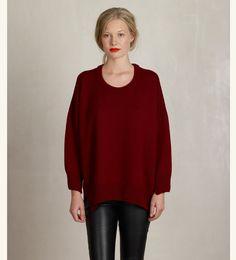 MURIĒE - Organic merino wool sweater ORIANA color burgundy