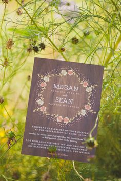 Wooden Invitation Suite | Joni Bilderback Photography https://www.theknot.com/marketplace/joni-bilderback-photography-albuquerque-nm-540652 | Los Poblanos Historic Inn And Organic Farm https://www.theknot.com/marketplace/los-poblanos-historic-inn-and-organic-farm-albuquerque-nm-524357
