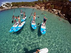 """STAND UP PADDLE SURF: The feeling of """"walking of water"""" gives you a perspective that cannot be compared. The smallest details of the surronding environment will be captured as you glide across the beautiful , crystal clear , Ibiza waters. Boho Chic, Stuff To Do, Things To Do, Paddle, Ibiza, Surfboard, Perspective, Surfing, Environment"""