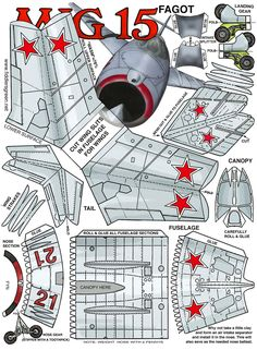 Russian MiG-15 (Mikoyan-Gurevich) FAGOT : Instruction http://www.fiddlersgreen.net/models/aircraft/MIG-15.html