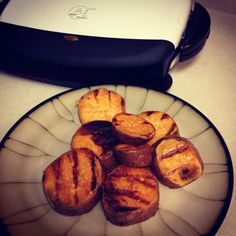 George Forman grilled sweet potato. Cut into desired thickness. Drizzle with olive oil or coconut oil. Dash of salt and brown sugar. Grill until slices are tender. Enjoy! Perfect for babies too. My 12 month old loved it