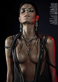 """Isabeli Fontana features in a military-inspired story for jewelry editorial called """"Guerra Preciosa"""" in Vogue Brazil April 2013."""