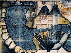 Hermoso mapa del lago de Atitlán. Parte de la colección de mapas mesoamericanos, contenidos en la biblioteca de la Universidad de Texas, Austin. Destaca el volcán de Poniente, hoy San Pedro, y el trazo cuadriculado dispuesto por los misioneros franciscanos en la localidad de Santiago Atitlán. Probablemente fue elaborado por un pintor maya local para la colección de Relaciones Geográficas solicitadas por Felipe II, con el fin de recopilar información de sus nuevas tierras. Pieza de 81 x 61.5…