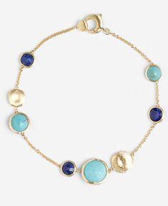 Marco Bicego 'Jaipur' Station Bracelet, 18K Gold, Turquoise, Lapis