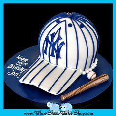 Yankees Striped Baseball Cap Birthday Cake