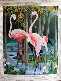 Flamingos......I like paint by number.....remember we use to do these for hours....wonder what ever happened to them????/