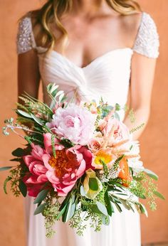 peony perfection #bouquet in pink + orange