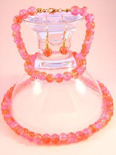 Handmade -  Orange & Pink Crackle Glass Jewelry Set (Necklace + Earrings + Bracelet) Glass Jewelry, Jewelry Sets, Orange Amps, Crackle Glass, Femininity, Bracelets, Earrings, Pink, Handmade