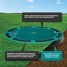De enige trampoline die volledig gelijk met de grond kan worden ingegraven.