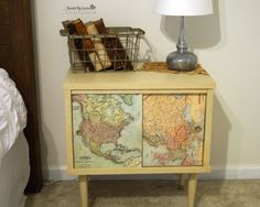 Furniture Flip Chalk Paint Table Old Map Decor @savedbyloves