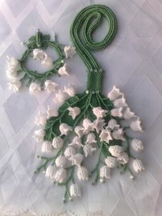 Lily of the valley bead work by Valentina Pomeschikovoy