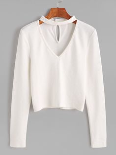 Casual White Shirt Women Blouse Ladies Elegant Choker Top V neck Blouses Long Sleeve OL camisa mujer blusas feminina haut femme Outfits For Teens, Trendy Outfits, Cute Outfits, Teen Fashion, Fashion Outfits, Womens Fashion, Vetement Fashion, Neck Choker, Cute Crop Tops
