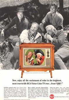 1964 Bonanza show cast Michael Landon, Lorne Greene photo RCA TV set print ad. Tvs, Color Television, Vintage Television, Old Advertisements, Retro Advertising, Product Advertising, Retro Ads, Vintage Tv, Vintage Prints