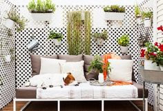 small space without privacy? no problem! lattice boards with planters create a beautiful place to enjoy the outdoors...