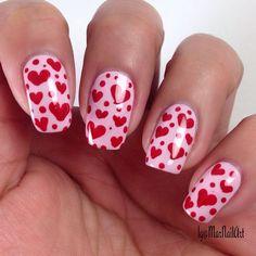 Hearts nail art design