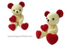 Valentine Teddy Bear With Heart Shaped Feet - Free Amigurumi Pattern here:  http://www.amigurumitogo.com/2015/02/Valentine-Teddy-Bear-Pattern-Free.html